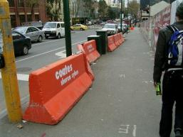 Non-continuous length of non-tested/approved/standard barriers.